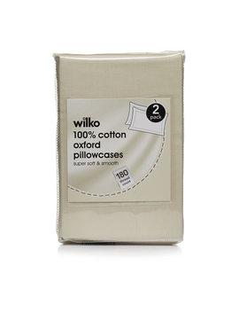 Wilko Parchment 100% Cotton Oxford Pillowcases 2 Pack Wilko Parchment 100% Cotton Oxford Pillowcases 2 Pack by Wilko