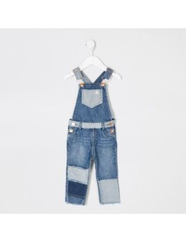 Mini Boys Blue Patchwork Denim Dungarees by River Island