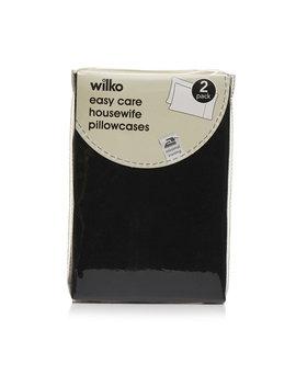 Wilko Easy Care Black Housewife Pillowcases 2 Pack Wilko Easy Care Black Housewife Pillowcases 2 Pack by Wilko