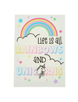 Life Is All Rainbows And Unicorns Wall Art Canvas by Claire's