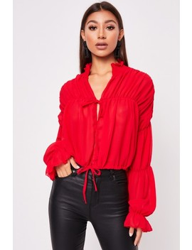 Shauna Red Ruched Collar Long Sleeve Top by Misspap