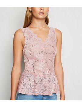 Pale Pink Sequin Lace Peplum Top by New Look
