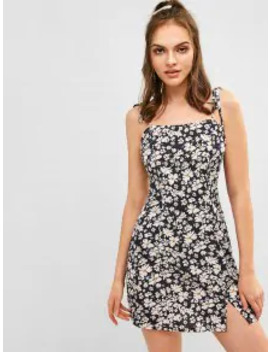 Hot Salezaful Floral Tie Shoulder Cami Dress   Dark Slate Blue L by Zaful