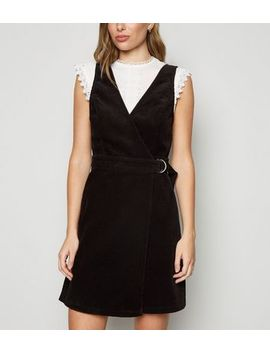 Black Corduroy Wrap Pinafore Dress by New Look