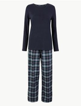 Check Print Cotton Pyjama Set by Marks & Spencer