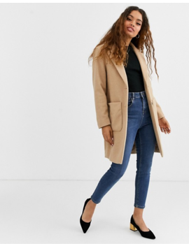 New Look Petite Button Front Coat In Oatmeal by New Look