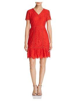 Lace Flounce Hem Dress by Karl Lagerfeld Paris