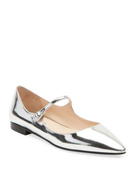Metallic Leather Mary Jane Ballet Flats by Prada