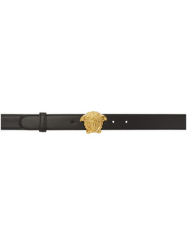 Black & Gold Medusa Tribute Belt by Versace