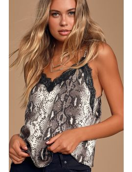 Brag About It Taupe Snake Print Lace Cami Top by Lush
