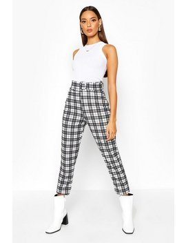 Tonal Check Belted Skinny Stretch Trousers Tonal Check Belted Skinny Stretch Trousers by Boohoo