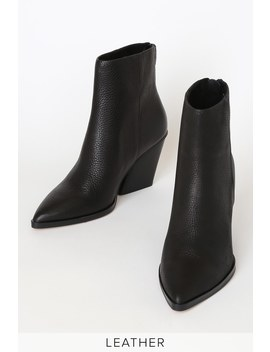 Issa Black Leather Pointed Toe Ankle Booties by Dolce Vita