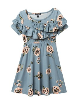 Ruffle Short Sleeve Knit Floral Dress (Toddler & Little Girls) by Ava & Yelly