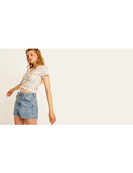 Cream And Lilac Floral Tillie Crop Top Boom!You're With Us Now. by Nobody's Child