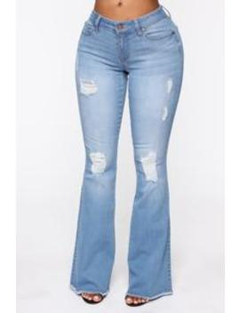 All Of The Lights Denim Flare Jeans   Light Blue Wash by Fashion Nova