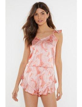 Feeling Slazy Satin Paisley Short Pyjama Set by Nasty Gal