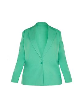 Plus Bright Green Boyfriend Blazer  by Prettylittlething