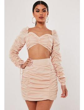 stassie-x-missguided-blush-co-ord-ruched-mini-skirt by missguided