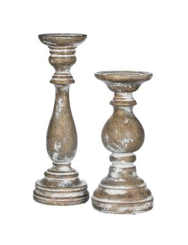 Whitewashed 2 Piece Resin Candlestick Set by Canora Grey