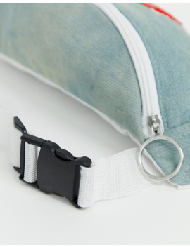 Asos Design Cross Body Fanny Pack In Washed Denim And Dream Land Print by Asos Design