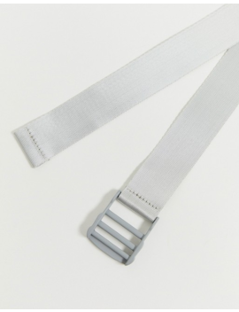 Asos Design Slim Long Ended Webbing Belt In Gray With Gray Matte Buckle by Asos Design
