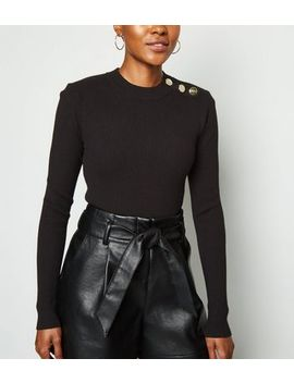 Black High Neck Button Shoulder Jumper by New Look