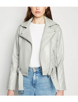 Pale Grey Leather Look Belted Biker Jacket by New Look