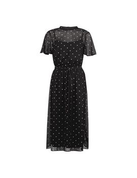 Black Spot Print Belted Fit And Flare Dress by Dorothy Perkins