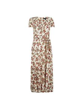 **Tall White Floral Print Ruffle Midi Dress by Dorothy Perkins