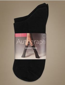 2 Pair Pack Warm Toes Ankle High Socks by Marks & Spencer