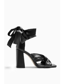 Revolve Leather Black High Sandals by Topshop