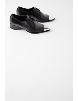 Flat Leather Shoes With Metal Toe Leather Shoes Woman by Zara
