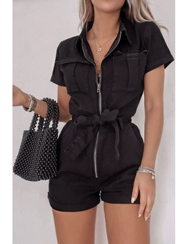 Fashion Influx Black Denim Short Sleeved Oversized Playsuit by In The Style