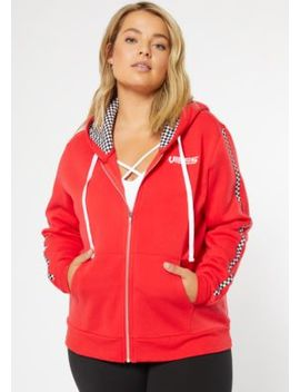 Plus Red Checkered Print Vibes Zip Up Hoodie by Rue21