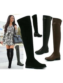 <Span><Span>Ladies Womens Thigh High Over The Knee Flat Platform Heel Stretch Boots Size</Span></Span> by Ebay Seller
