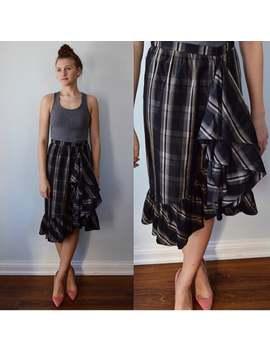Valentino, Vintage Valentino Skirt, Vintage Skirt, Silk Skirt, Valentino Boutique Skirt, Plaid Silk, Ruffle Skirt, Designer, Valentino by Etsy