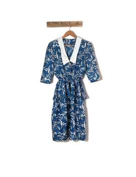 80s Blue White Peplum Dress. Retro Frill Waist Dress / Medium by Etsy