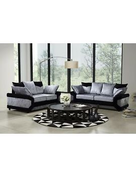 Dino Velvet Sofa Set 3+2+1 Suite Couch Settee Black Silver Sofas 50% Off Rrp by Ebay Seller