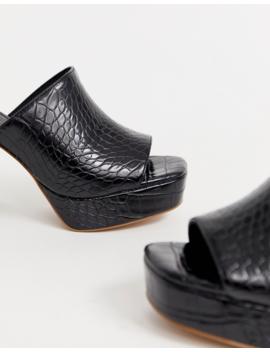 Asos Design   Happy   Mules épaisses à Semelle Plateforme   Noir Croco by Asos Design