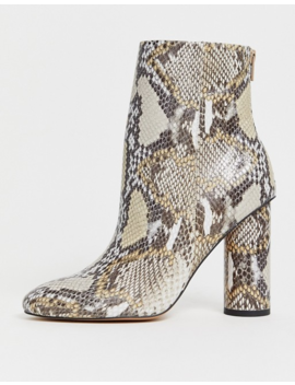 Asos Design Egypt Leather Heeled Boots In Snake by Asos Design