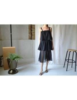 Black Gauze Ruffled Tiered Dress / Sheer / Spaghetti Strap by Etsy