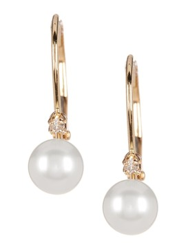 14 K Yellow Gold Diamond Accented 5 5.5mm Cultured Freshwater Pearl Earrings by Splendid Pearls