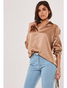 camel-satin-oversized-shirt by missguided