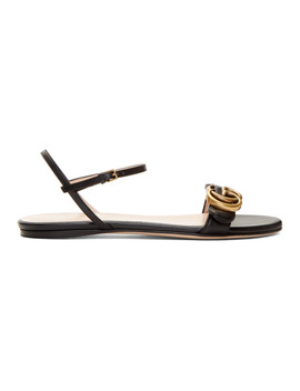 Black Leather Gg Sandals by Gucci