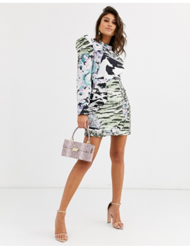 Asos Design Mixed Print Mini Dress With Extreme Sleeves by Asos Design