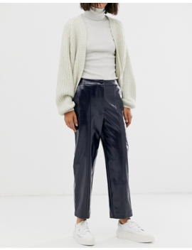 Weekday   Pantalon Effet Verni   Bleu Marine by Weekday