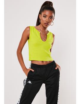 Yellow Notch Neck Sleeveless Crop Top by Missguided