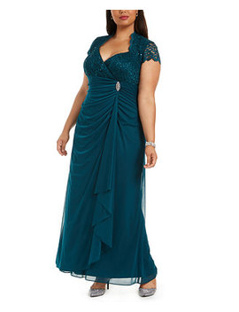 Plus Size Sequined Lace Ruched Gown by General