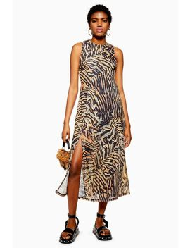 Tall Tiger Sleeveless Mesh Dress by Topshop