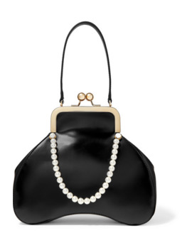 Baby Bean Faux Pearl Embellished Leather Tote by Simone Rocha